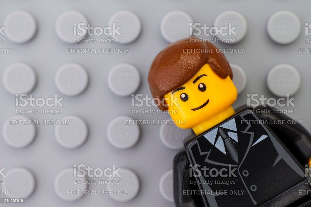 Portrait of Lego businessman minifigure stock photo