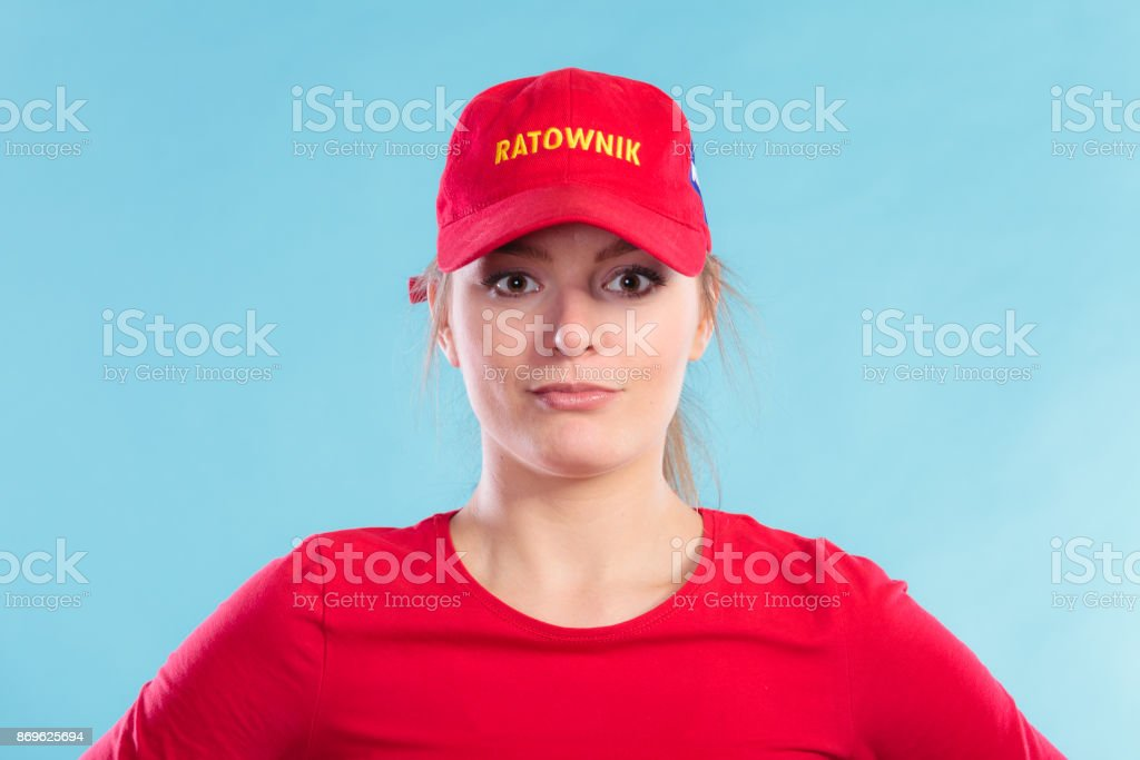 598fcc4a58a Portrait Of Lifeguard Woman In Red Cap Stock Photo   More Pictures ...