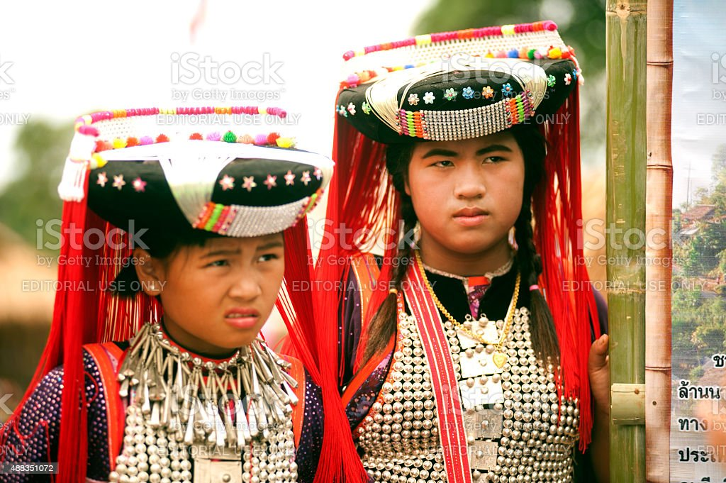 Portrait of Lisu minority hill tribe in Thailand. stock photo