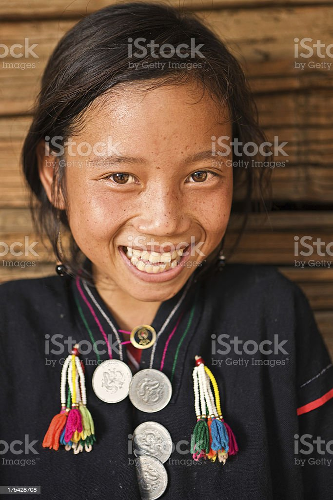 Portrait of little Akha girl in Northern Laos stock photo