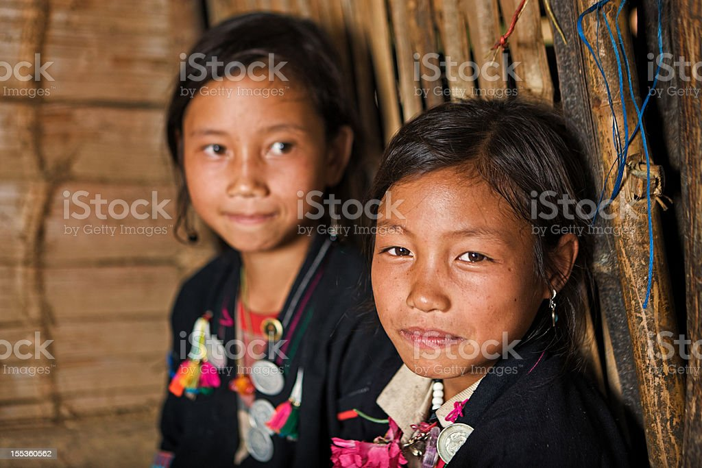Portrait of little Akha girls in Northern Laos stock photo