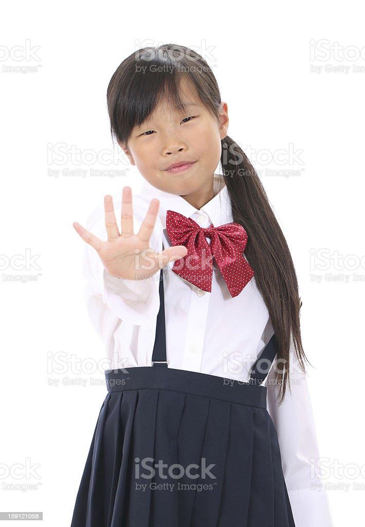Portrait of little asian schoolgirl royalty-free stock photo