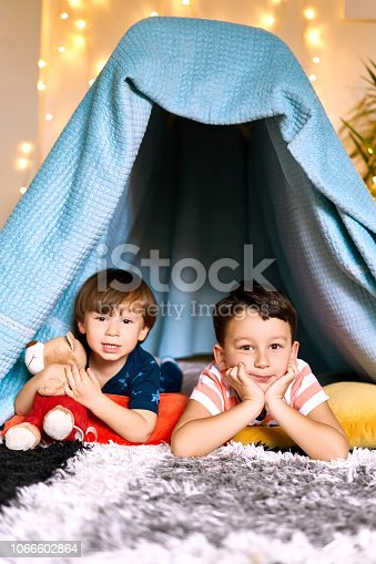 Portrait of little boy in front of tent with brother