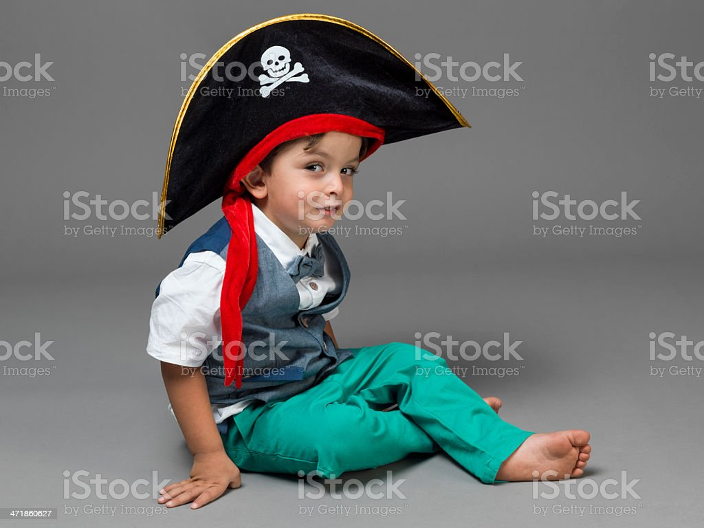 Portrait of little boy in pirate costume royalty-free stock photo