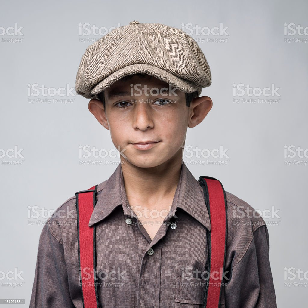 acb3bf312 Portrait Of Little Boy Wearing A Flat Newsboy Cap Stock Photo ...