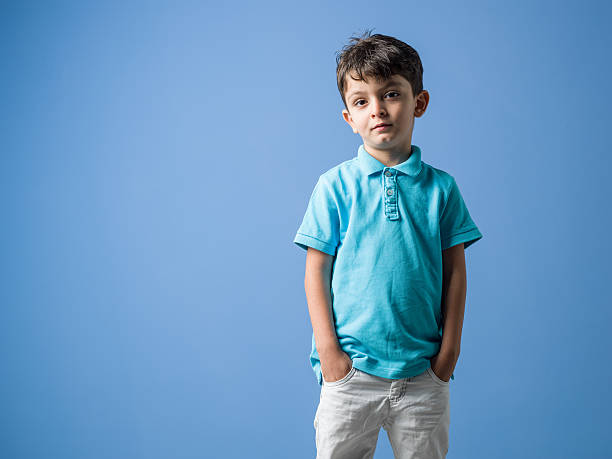 Portrait Of Little Boy Wearing Casual Clothings - foto de acervo