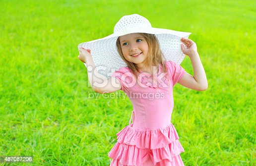 540510130istockphoto Portrait of little girl in dress and straw hat 487087206