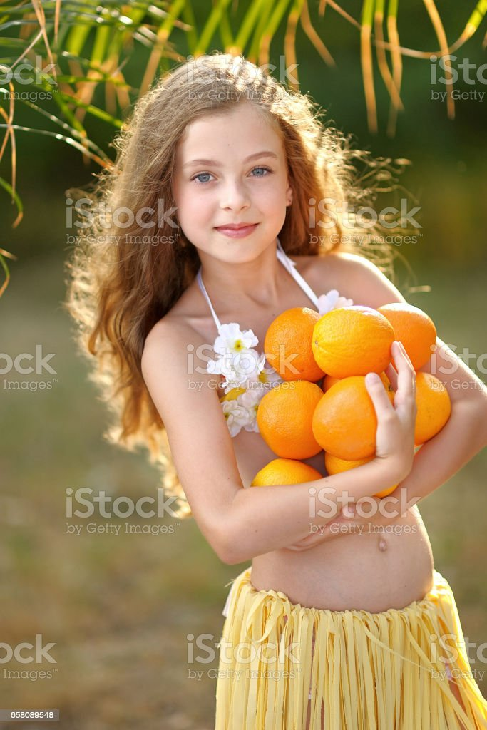 portrait of little girl in tropical style royalty-free stock photo