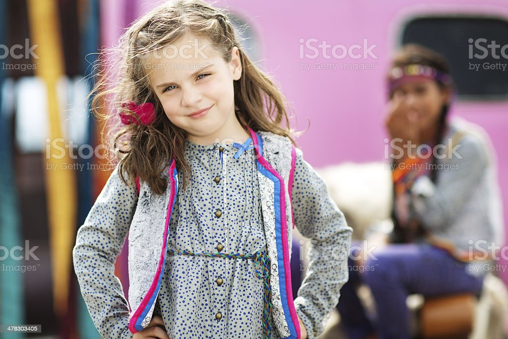 portrait of little girl posing outdoors royalty-free stock photo