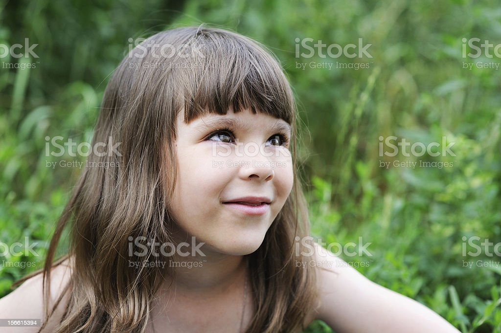 Portrait of little girl with elegant hairstyle royalty-free stock photo