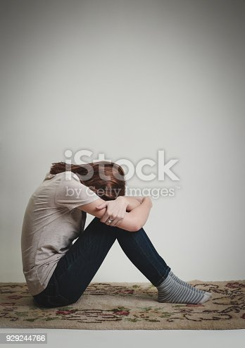 932187866istockphoto Portrait of lonley depressed woman, quiet anxiety concept 929244766