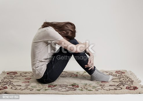 932187866istockphoto Portrait of lonley depressed woman, quiet anxiety concept 929245184