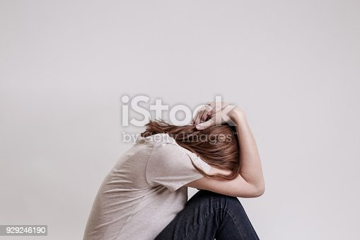 932187866istockphoto Portrait of lonley depressed woman, quiet anxiety concept 929246190