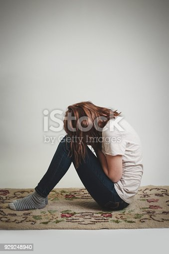 932187866istockphoto Portrait of lonley depressed woman, quiet anxiety concept 929248940