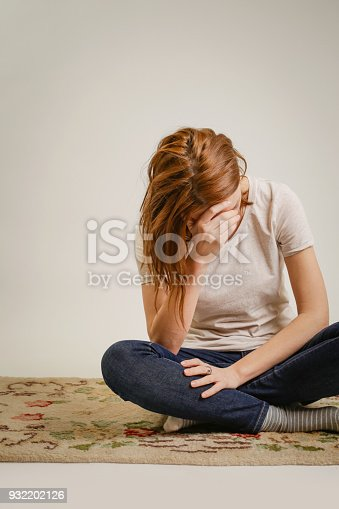 932187866istockphoto Portrait of lonley depressed woman, quiet anxiety concept 932202126