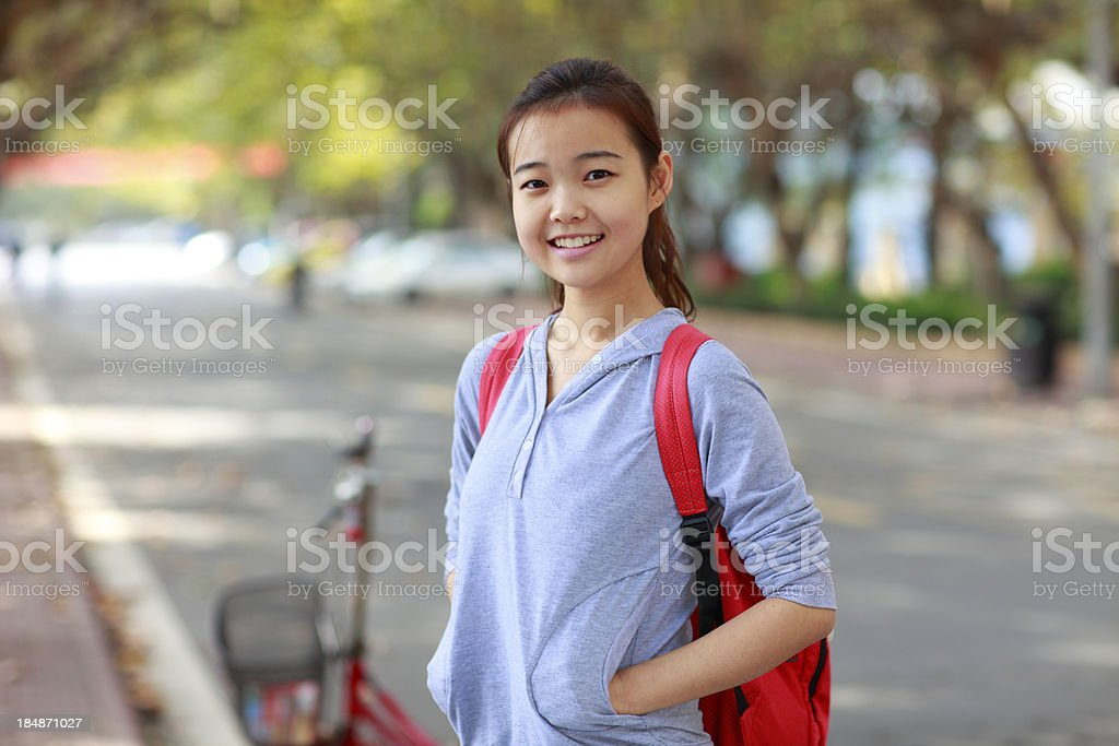 portrait of lovely asian college student royalty-free stock photo