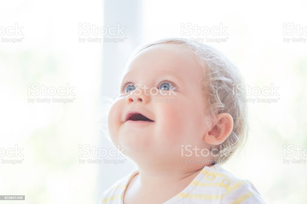 Portrait of lovely baby stock photo
