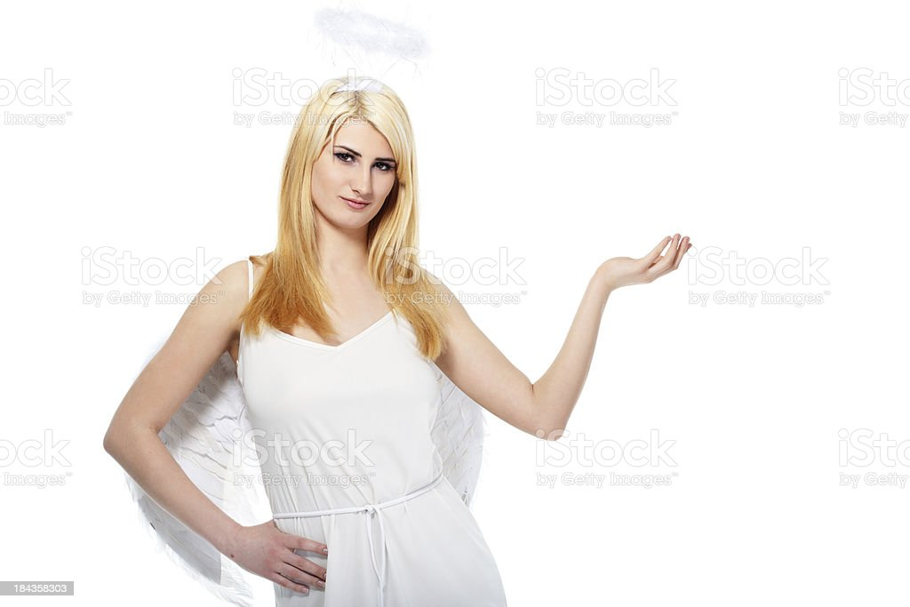 portrait of lovely blond with angel wings royalty-free stock photo