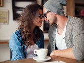 istock Portrait of loving couple at cafe 496668833