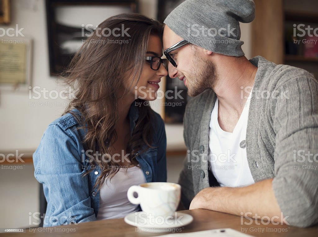 Portrait of loving couple at cafe stock photo