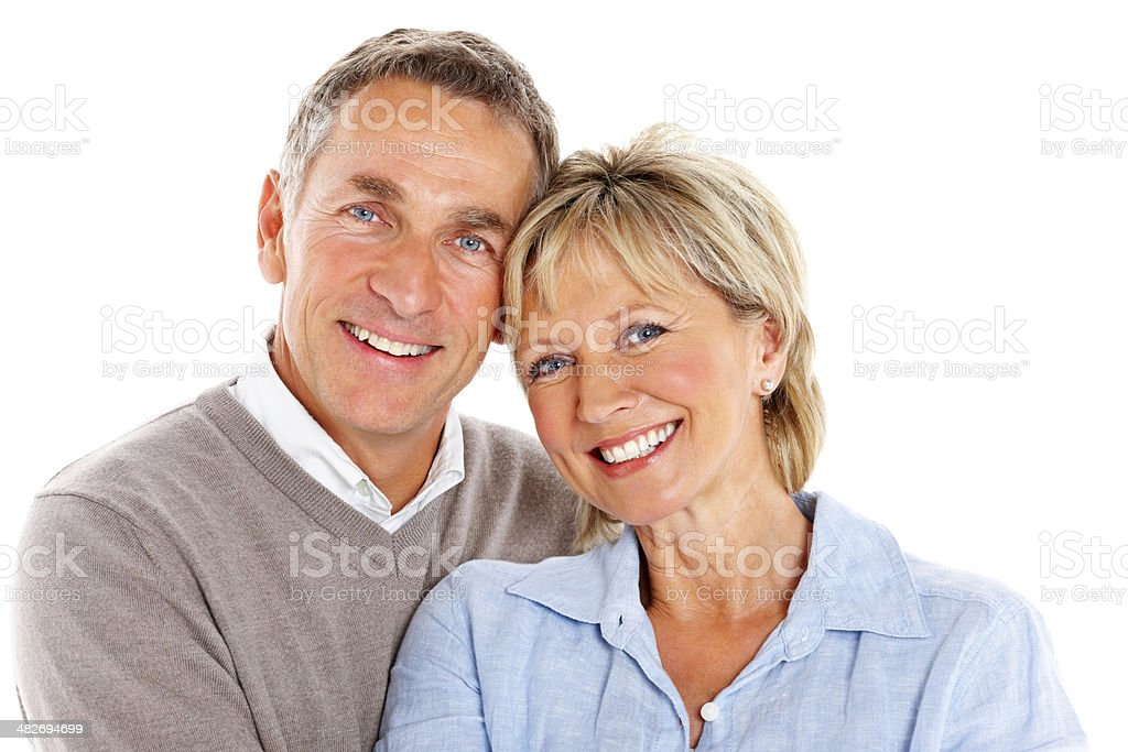Portrait of loving mature couple on white stock photo