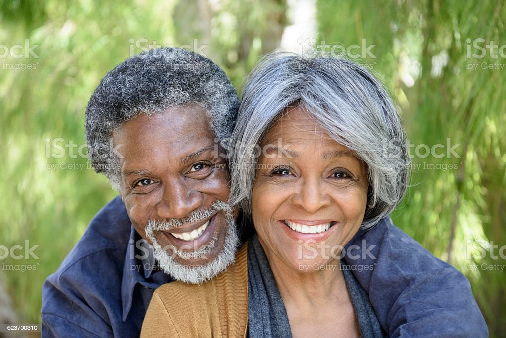 Portrait of loving senior African American couple stock photo