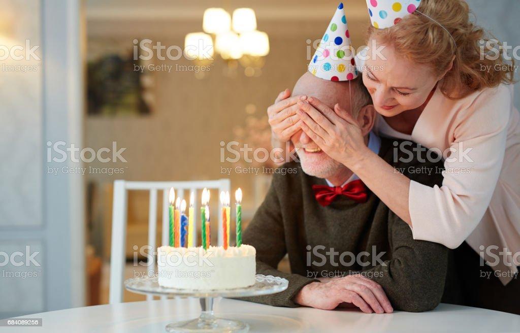 Superb Portrait Of Loving Senior Couple Celebrating Birthday Together Personalised Birthday Cards Fashionlily Jamesorg