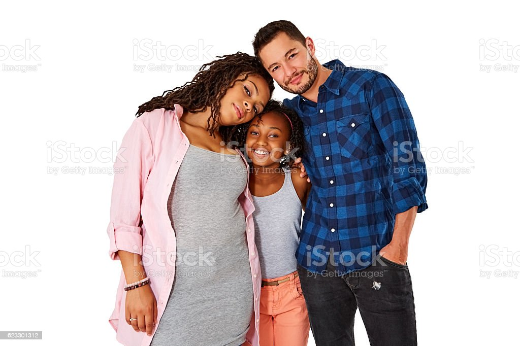 Portrait of loving transgender family stock photo