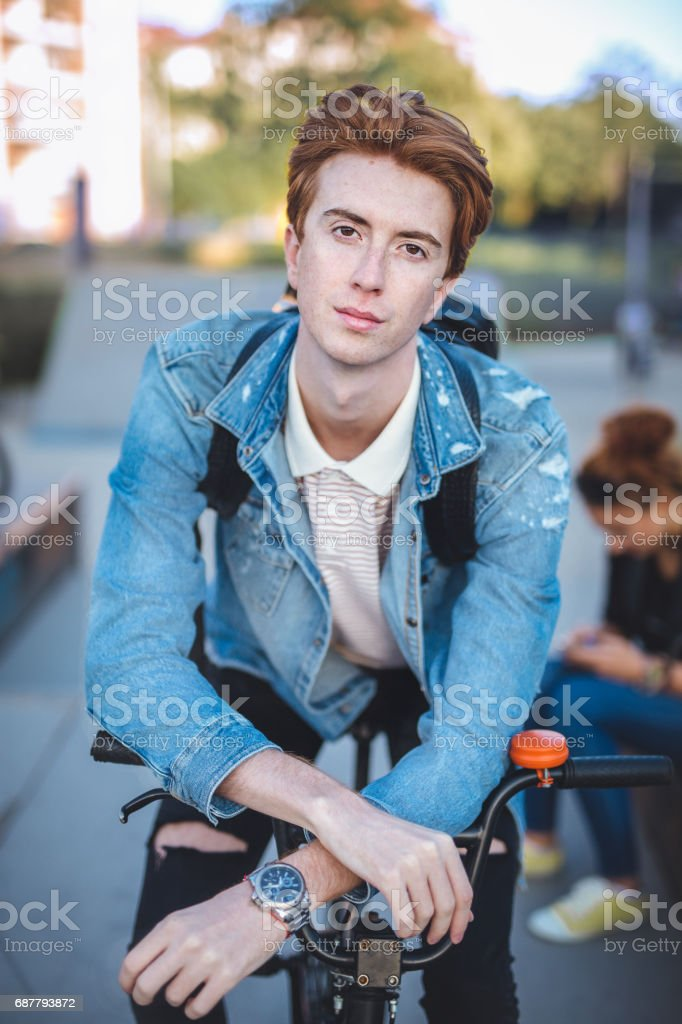 Portrait of mail on a BMX stock photo