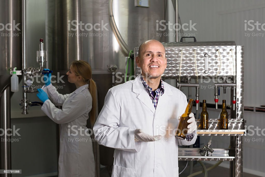 Portrait of male brewery worker stock photo