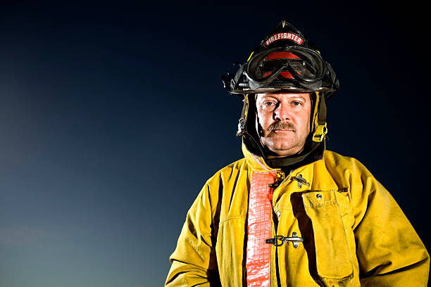 Portrait of Male Firefighter stock photo