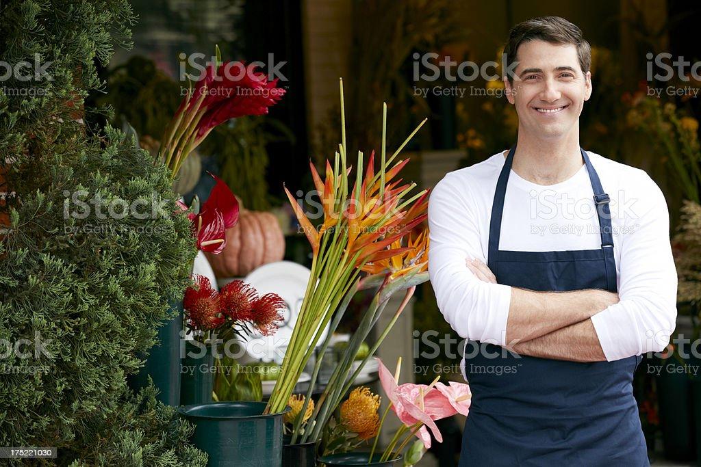 Portrait Of Male Florist Outside Shop royalty-free stock photo