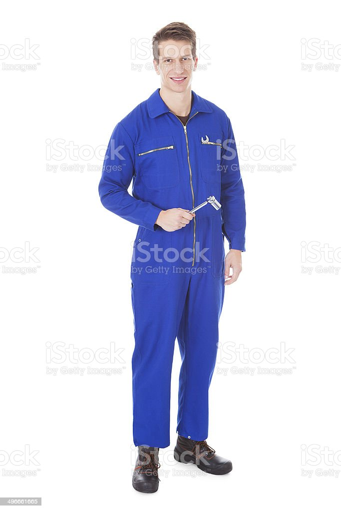 Portrait Of Male Mechanic stock photo