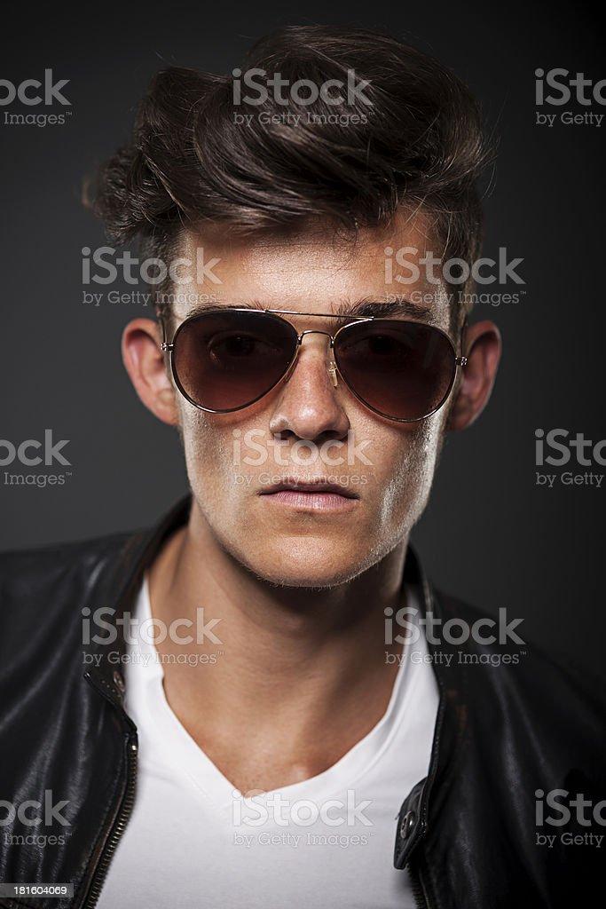 Portrait of male model wearing sunglasses royalty-free stock photo