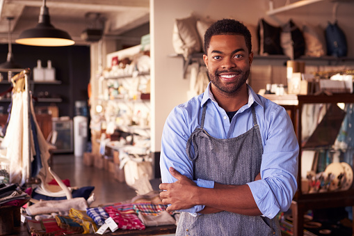 istock Portrait Of Male Owner Standing In Gift Store 508319768