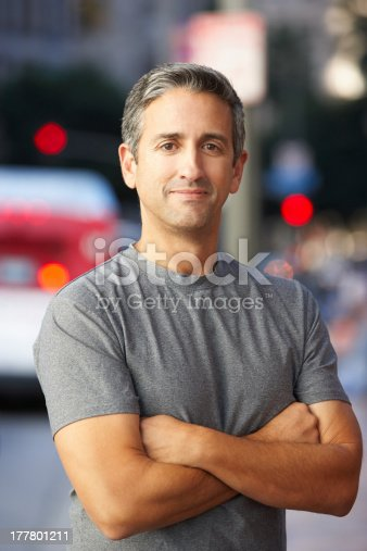 istock Portrait Of Male Runner On Urban Street 177801211