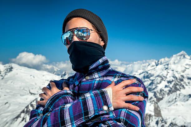 Porträt eines Mannes in ski resort – Foto