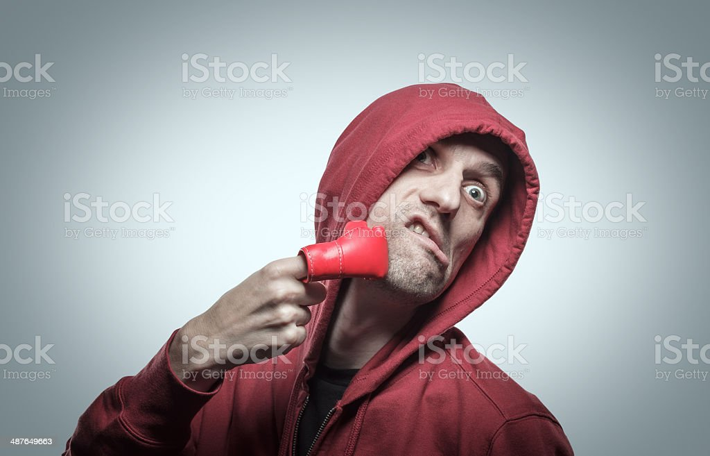 portrait of man in the hood. stock photo