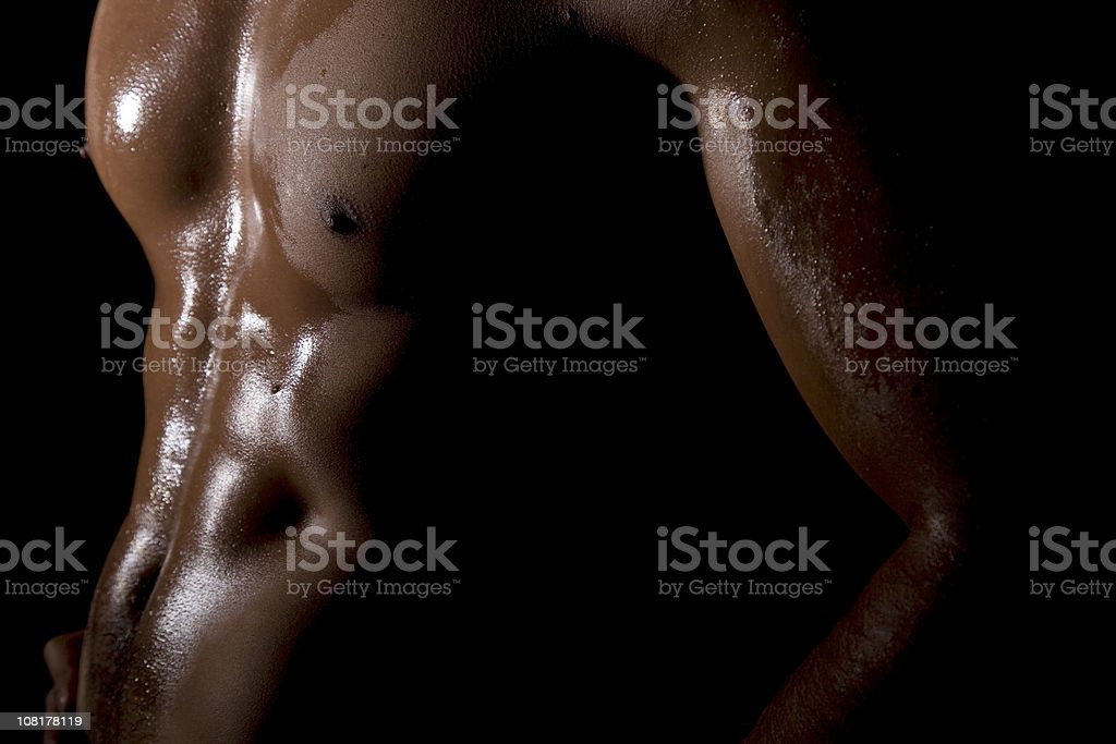 Portrait of Man Muscular Torso, Low Key stock photo