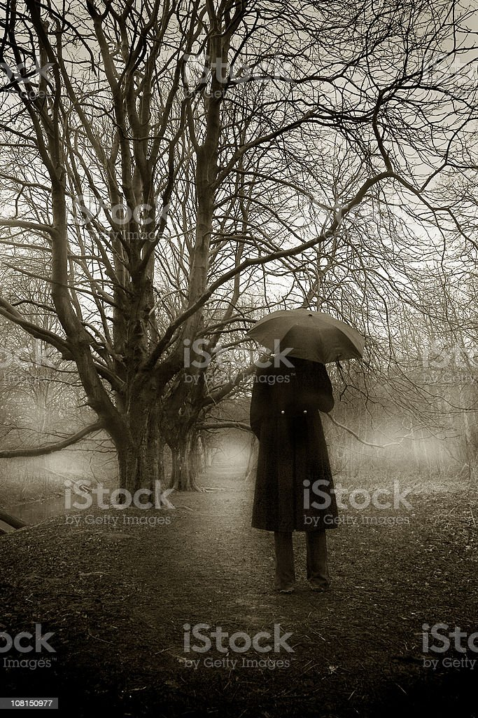 Portrait of Man on Forest Pathway, Sepia Toned royalty-free stock photo