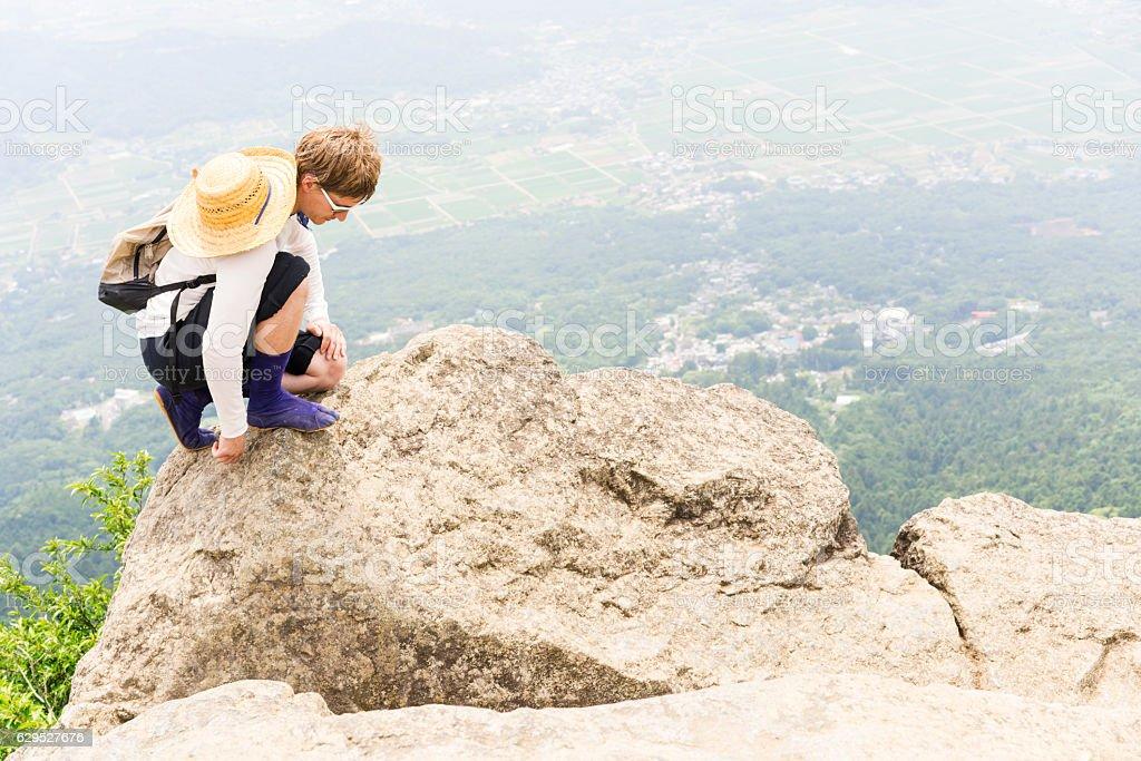 Portrait of man on top of Mount Tsukuba, Japan stock photo