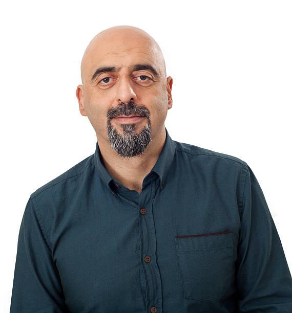 porträt eines mannes auf weißem hintergrund - mann bart freisteller stock-fotos und bilder