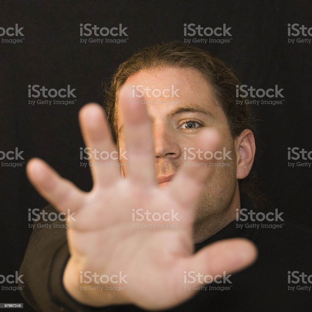 Portrait of man saying NO royalty-free stock photo