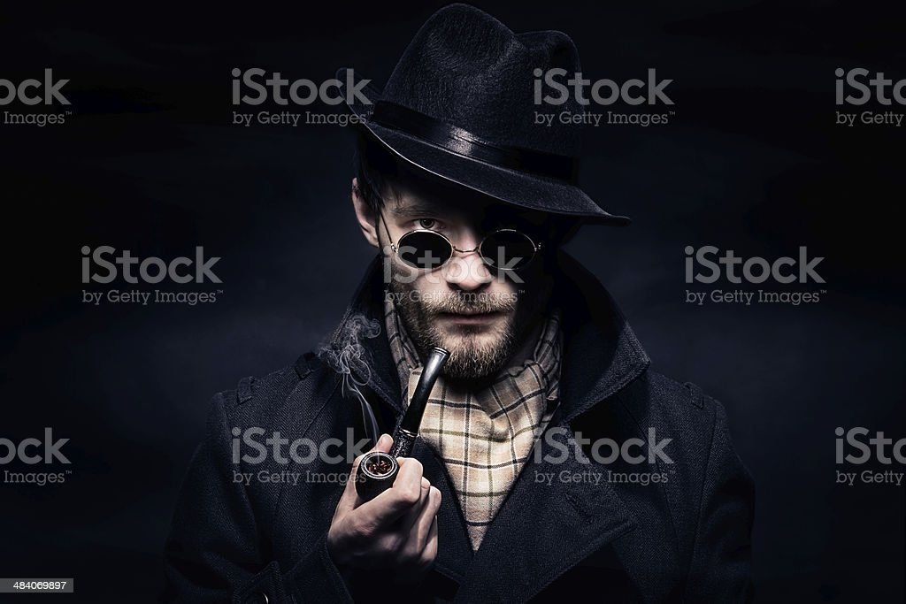 Portrait of man, Sherlock Holmes like character stock photo