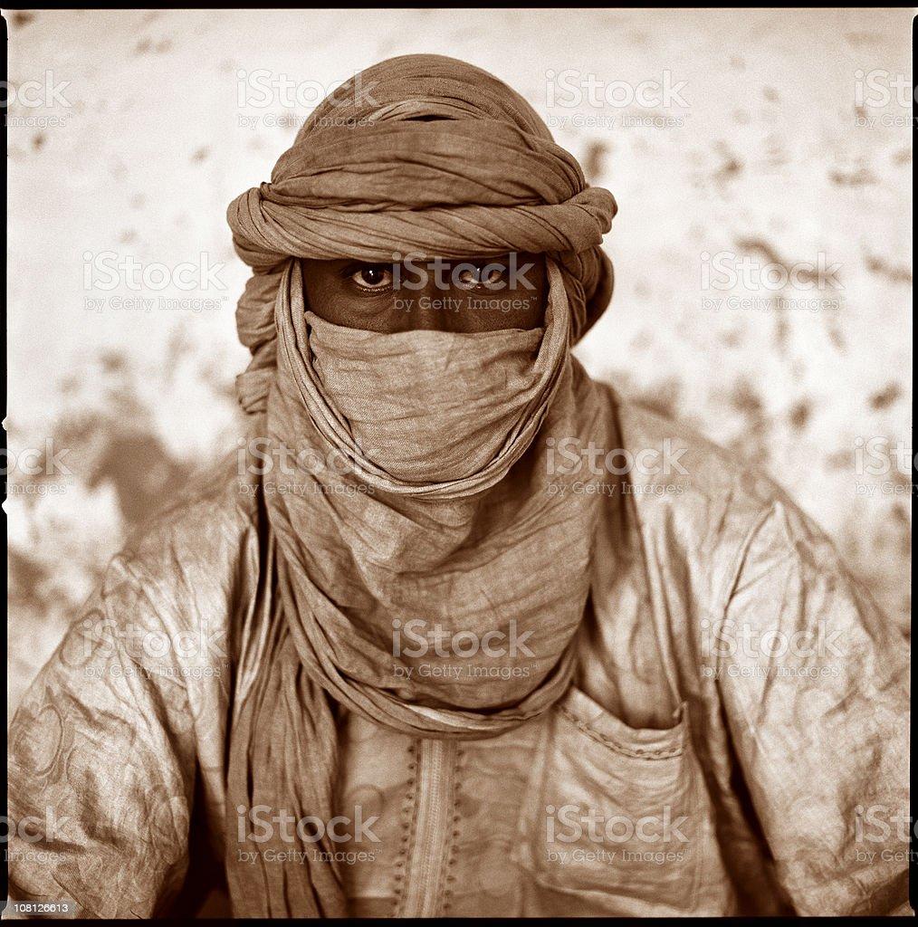 Portrait of Man Wearing Tuareg, Sepia Toned royalty-free stock photo