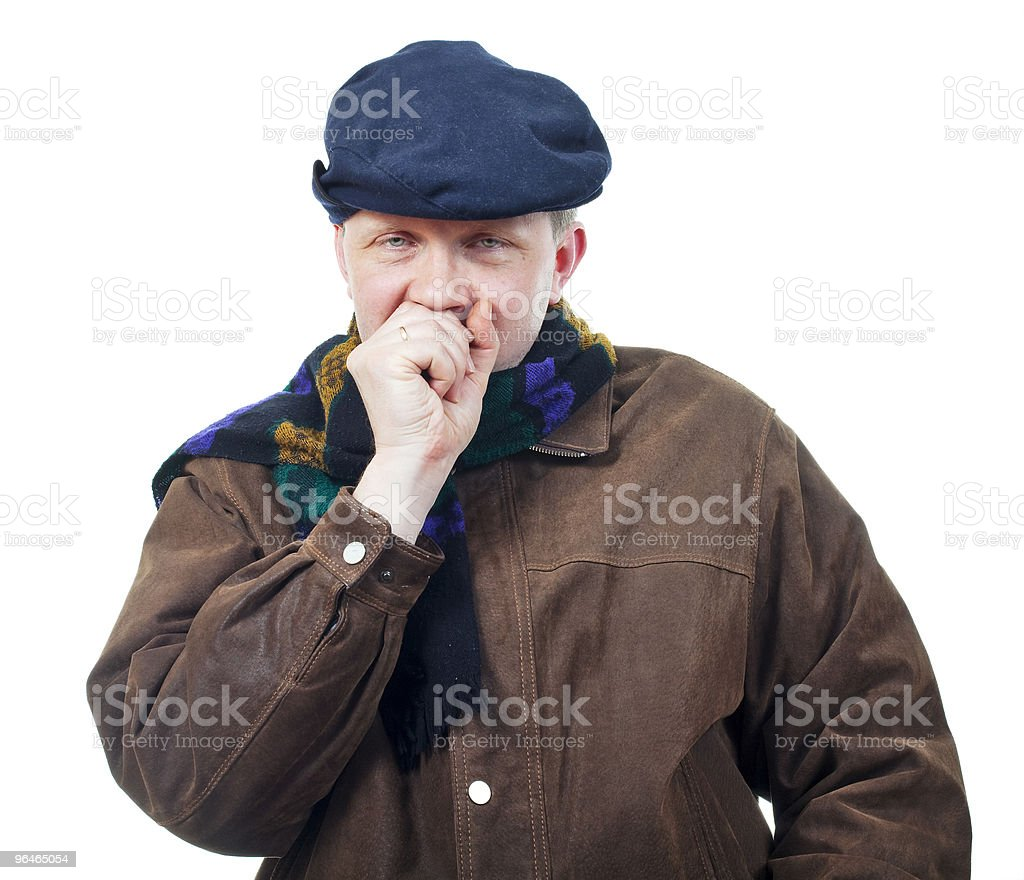 Portrait of man which is ill royalty-free stock photo