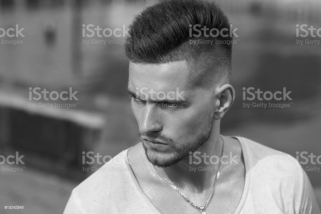 Portrait of man with beard, black and white stock photo