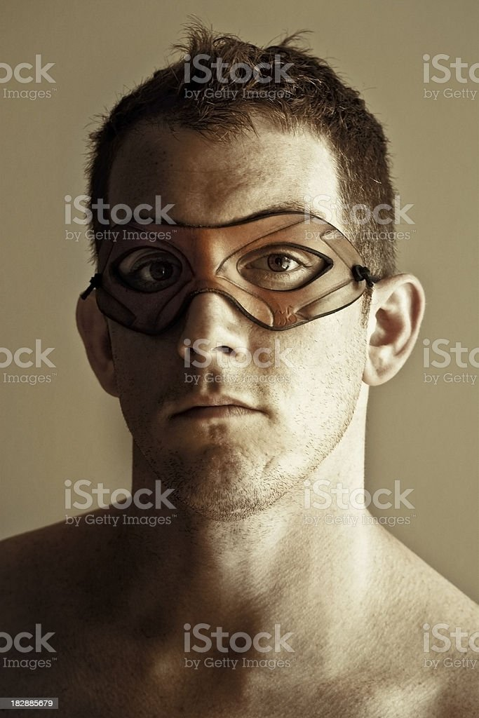 Portrait of Man with Leather Mask royalty-free stock photo