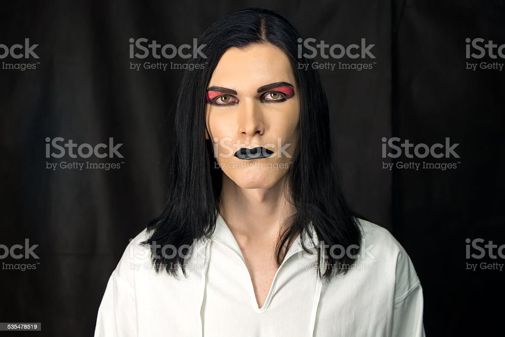 Portrait of man with make up stock photo