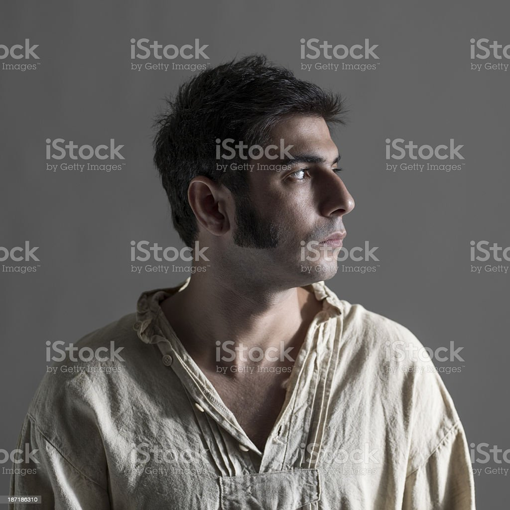 Portrait of man with sideburns and period costume stock photo